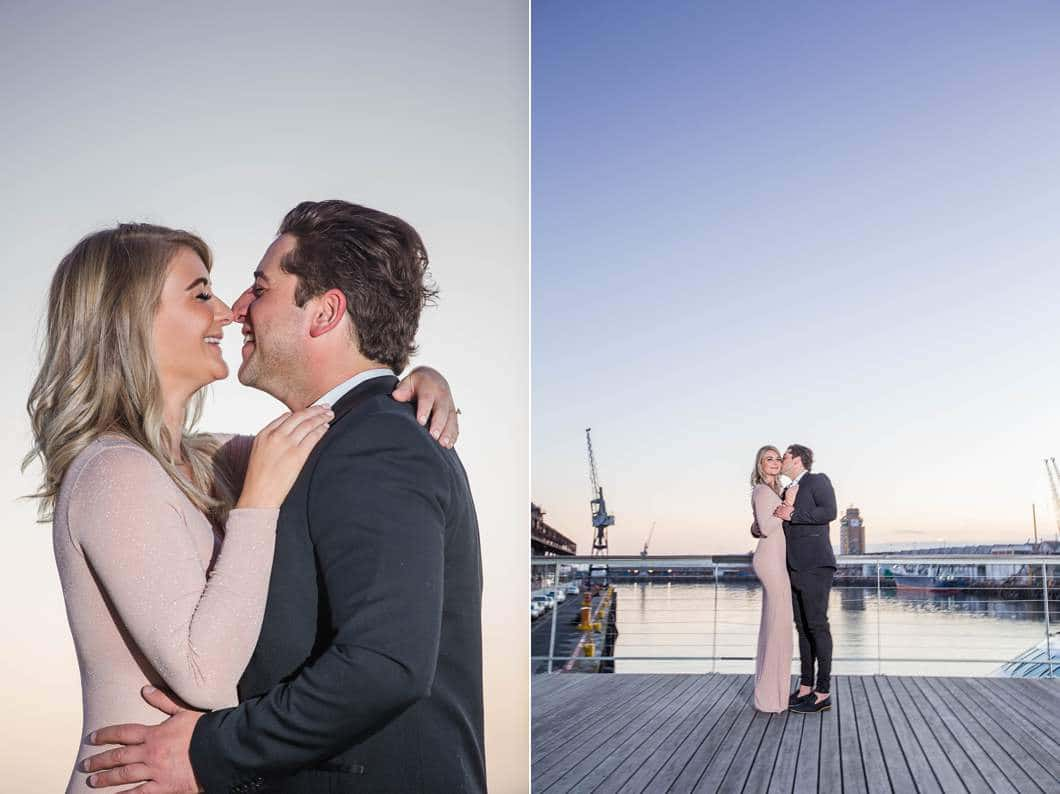 engaged couple nose to nose eskimo kisses sunrise waterfront engagement shoot cape town