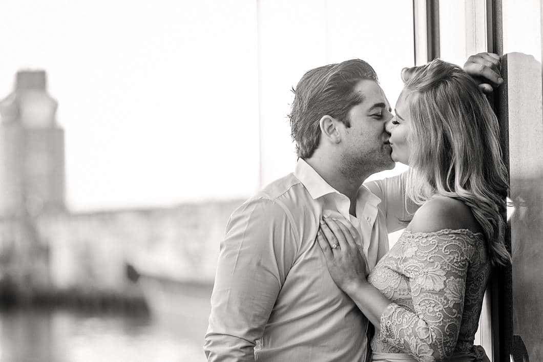 kisses in the morning engagement shoot urban black white katie mayhew
