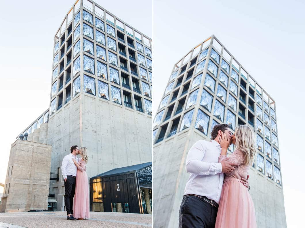 zeitz mocaa engagement shoot cape town waterfront sunrise kisses