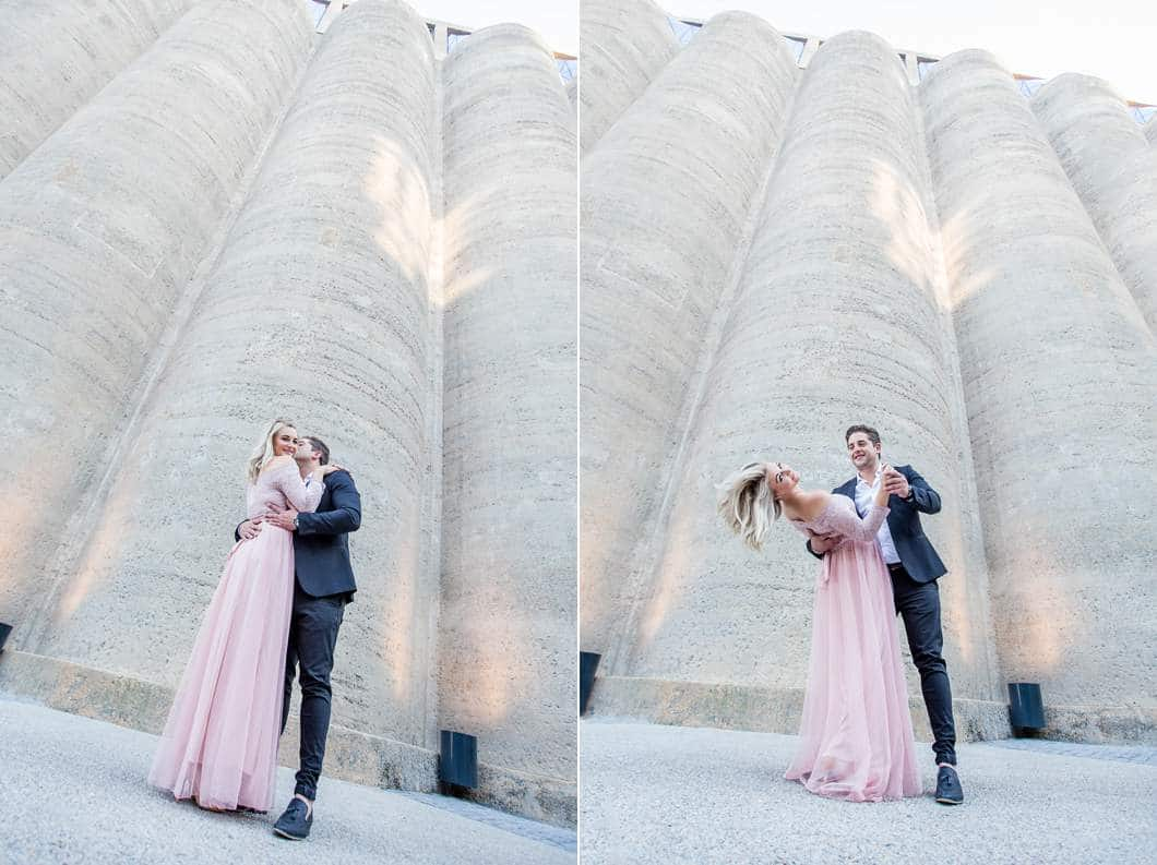 zeitz mocaa silo building with engaged couple posing and dancing katie mayhew